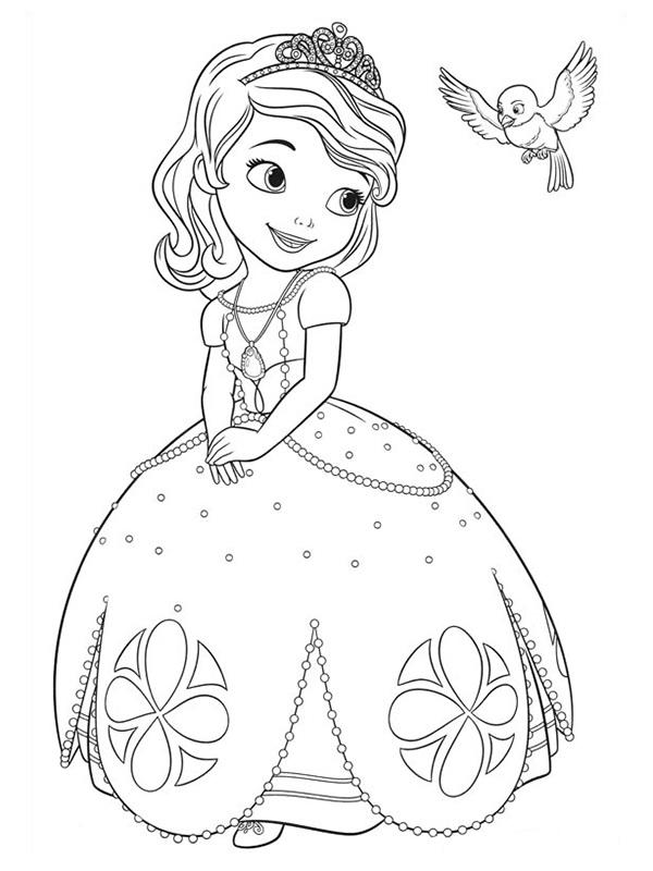 Princess Sofia Coloring Pages And Mia The Bird