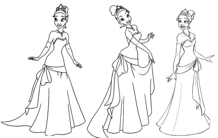 Princess Tiana Outfits Coloring Pages