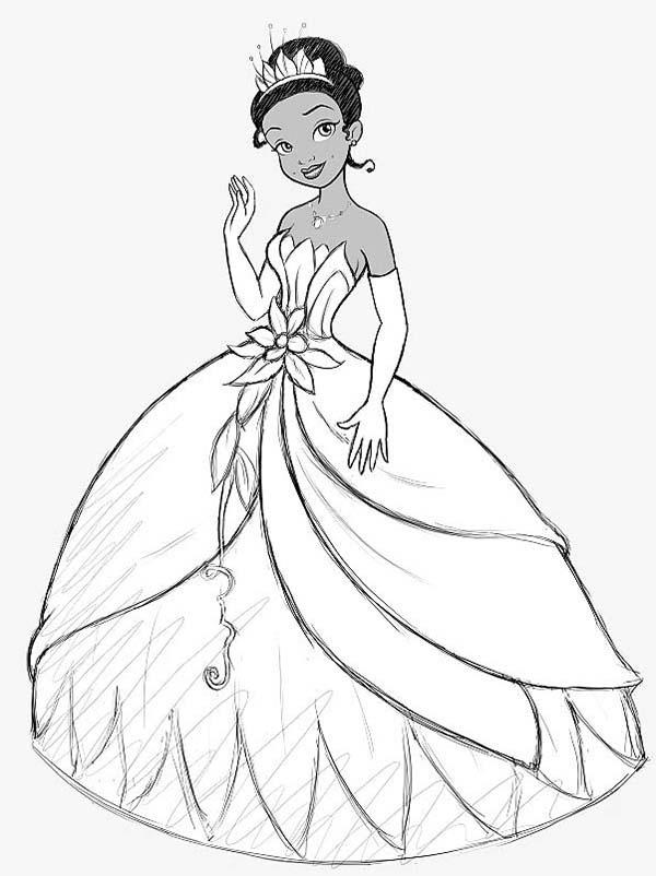 Princess Tiana Wearing Beautiful Crown Princess And The Frog Coloring Pages