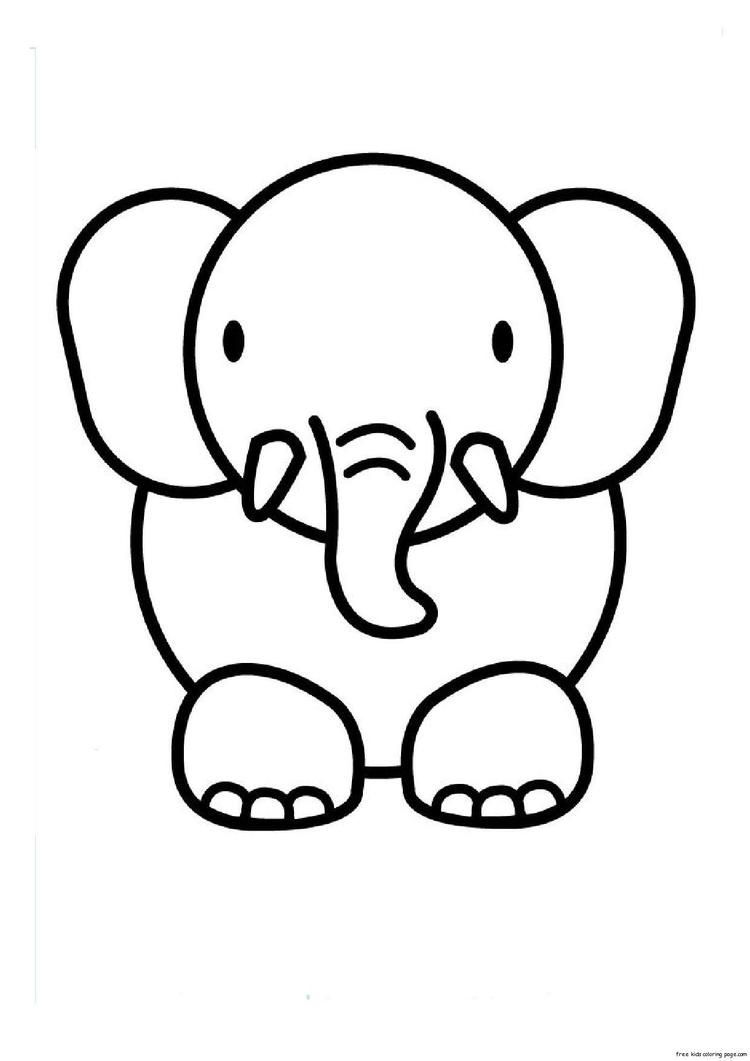 Print Out Animal Elephant Coloring Pages 1