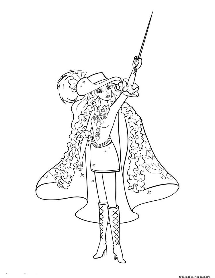 Print Out Barbie In Mousquetaires Coloring Pages