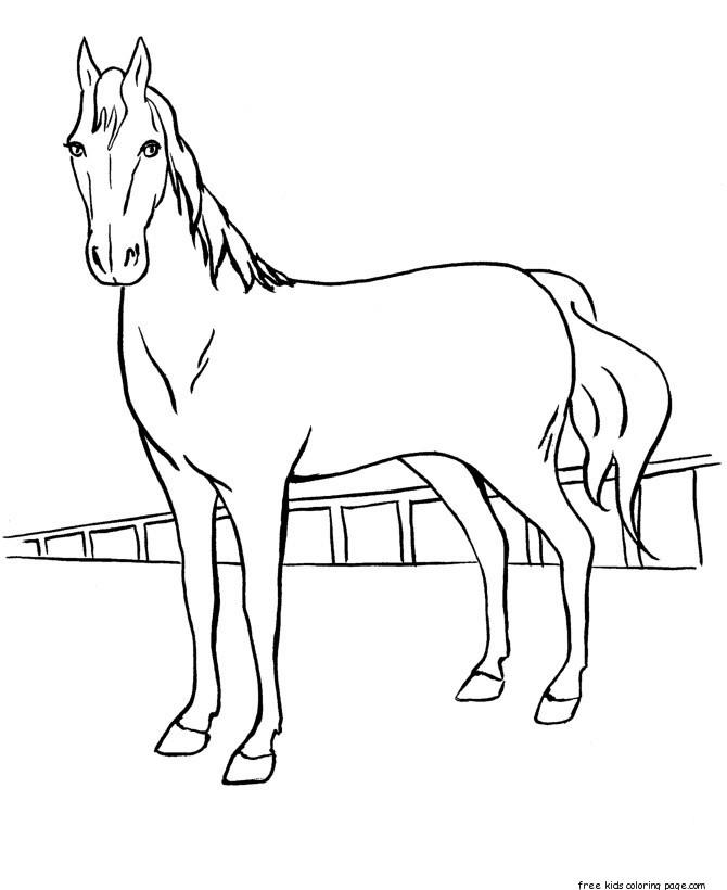 Print Out Coloring Pages Race Horses For Kids