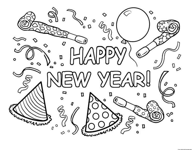Print Out Happy New Year Coloring Page For Kids