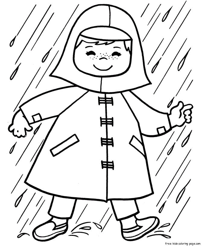 Print Out Spring Girl Playing In Rain Coloring Page