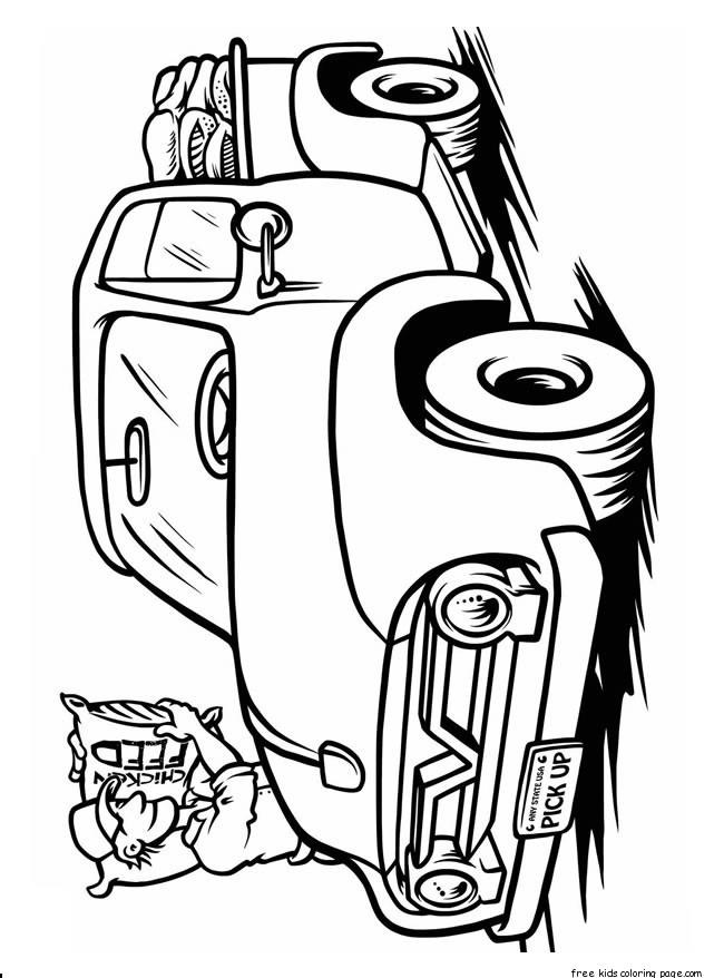 Print Out Trucks Coloring Book Page