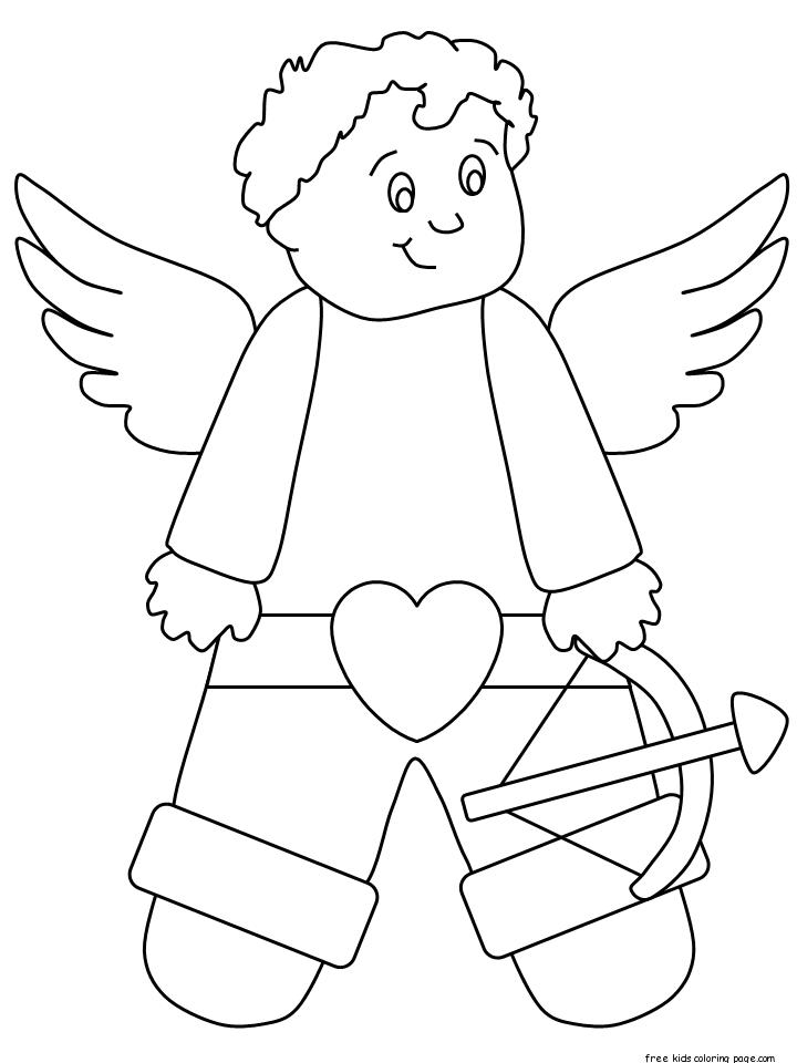 Print Out Valentines Day Cupid Coloring Page