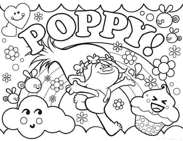 Print Poppy Trolls Coloring Pages