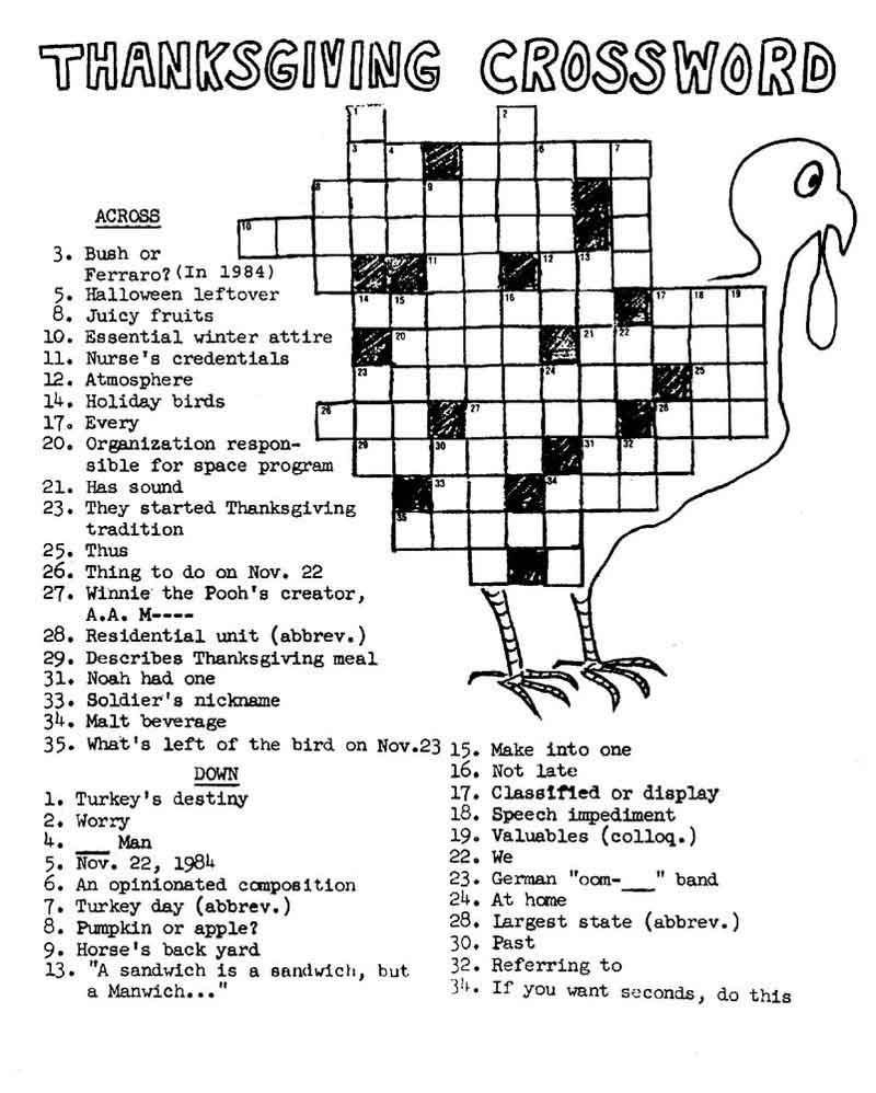 picture relating to Thanksgiving Crossword Puzzle Printable titled Printable Thanksgiving Crossword Puzzle - Coloring Designs