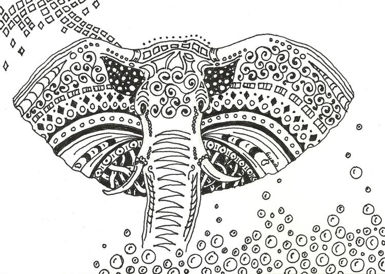 Printable Abstract Elephant Coloring Pages For Adults