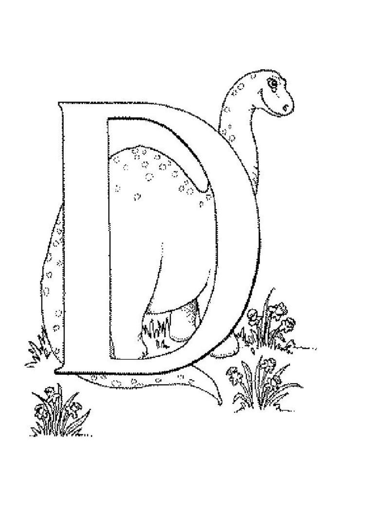 Printable Alphabet Coloring Pages D For Dino