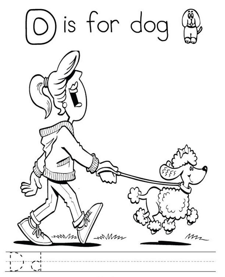 Printable Alphabet Coloring Pages Letter D Is For Dog