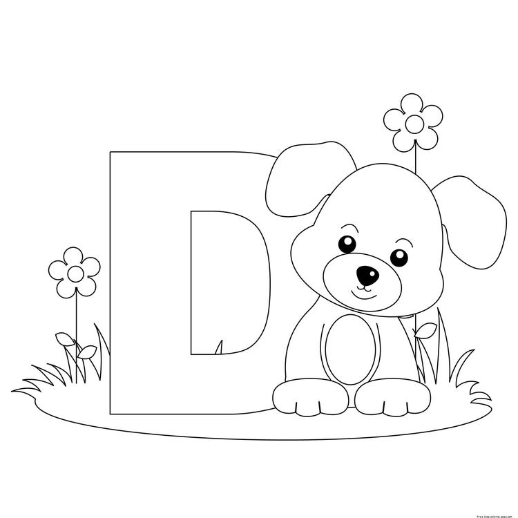 Printable animal alphabet letter d for dog