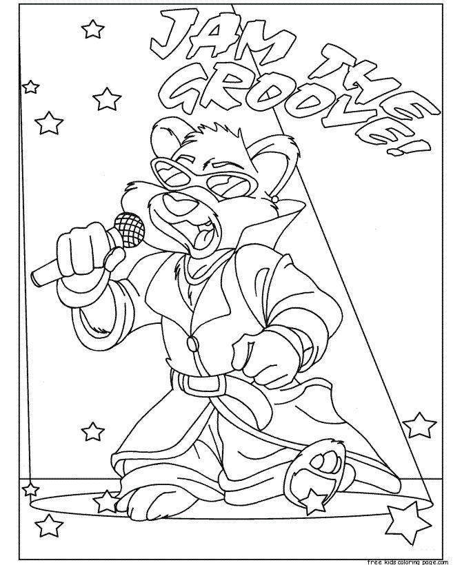 Printable Animal Hip Hop Bear Coloring Pages