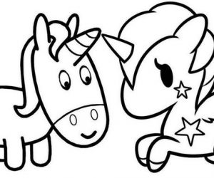 Printable baby unicorn coloring page for children