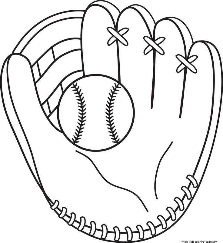 Printable Baseball Bat And Glove Coloring Pages