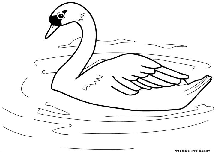 Printable Bird Swan Coloring Pages