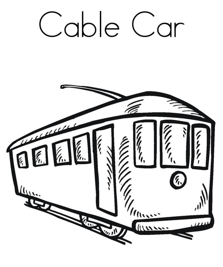 Printable Cable Car Coloring Page