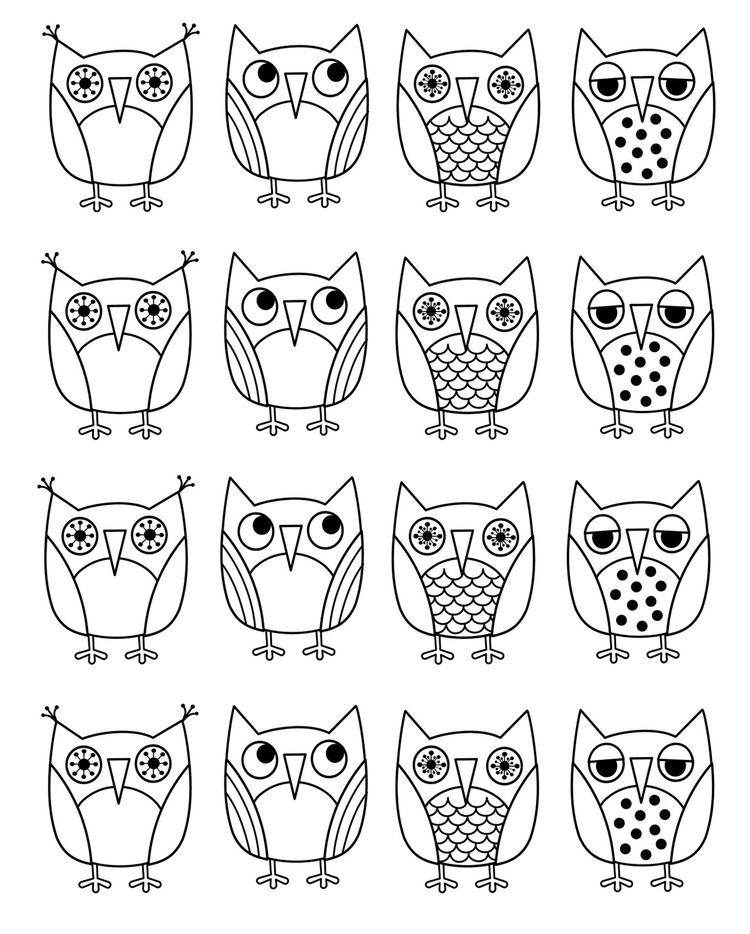 Printable Cartoon Owl Coloring Pages
