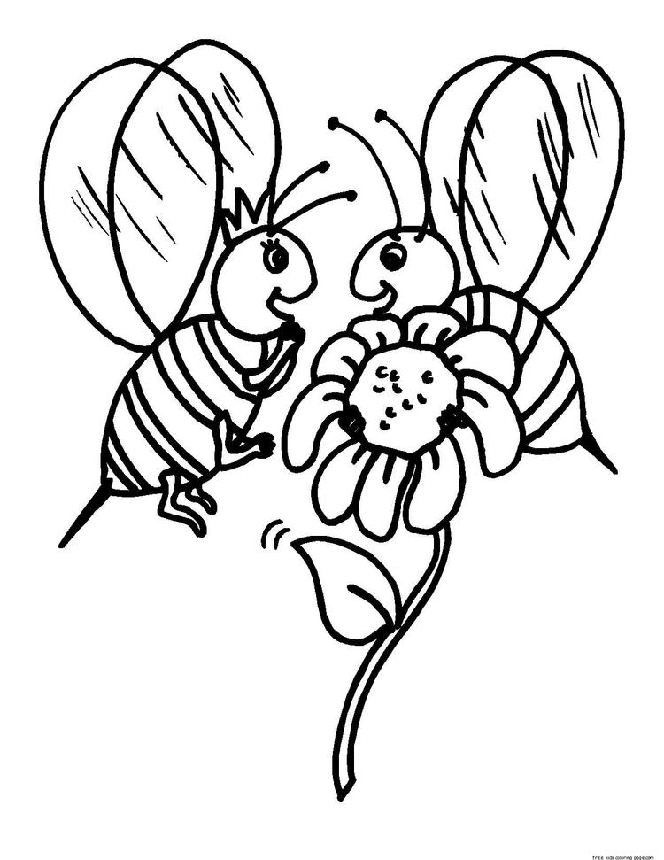 Printable Coloring Pages Animal Bee