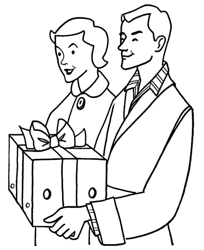 Printable Coloring Pages Christmas Gift From Parents
