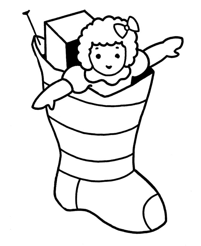 Printable Coloring Pages Christmas Gift Stocking