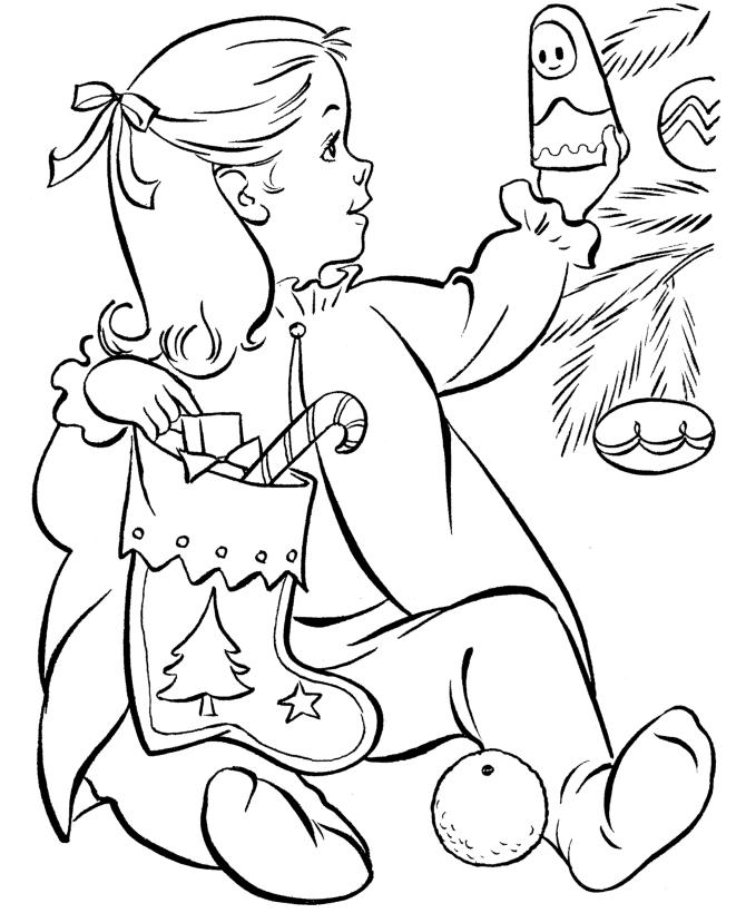 Printable Coloring Pages Christmas Kid And Stocking Present