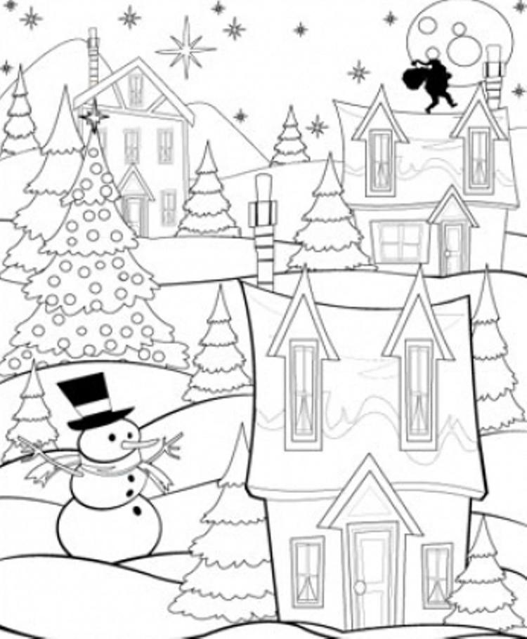 Printable Coloring Pages Christmas Night