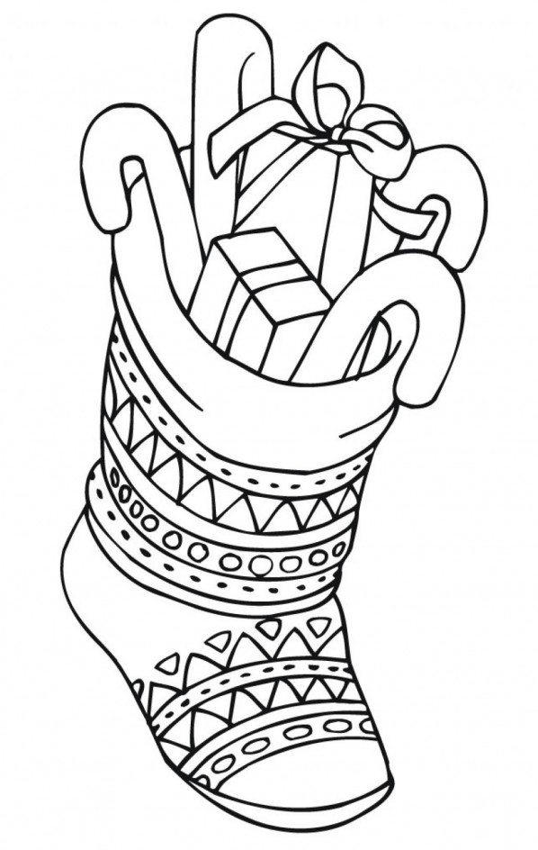 Printable Coloring Pages Christmas Stocking With Presents
