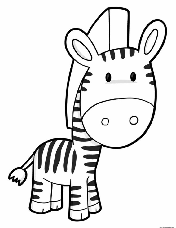 Printable Cute Zebra Coloring Pages