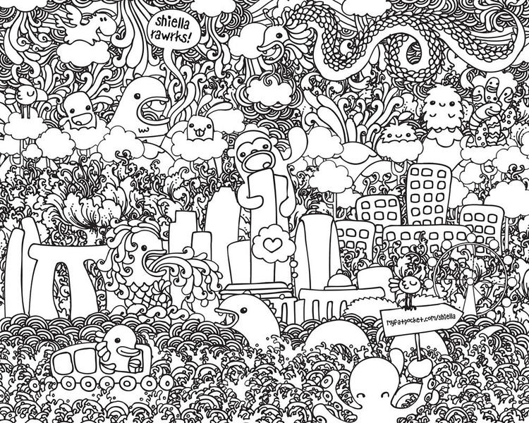 Printable Doodle Coloring Pages For Adults