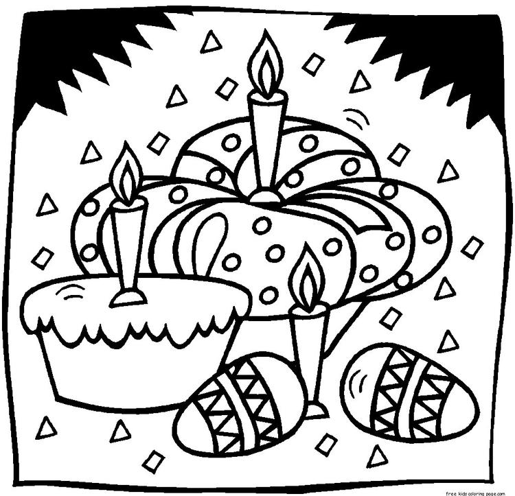 Printable Easter Eggs And Cakes Coloring Page