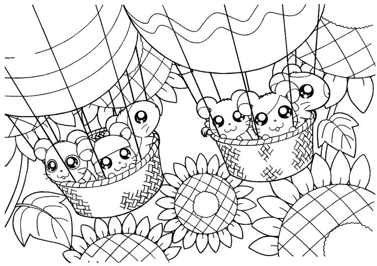 Printable Free Hamtaro Coloring Pages