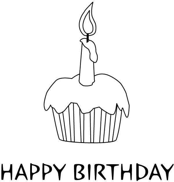 Printable Happy Birthday Cupcake Coloring Pages