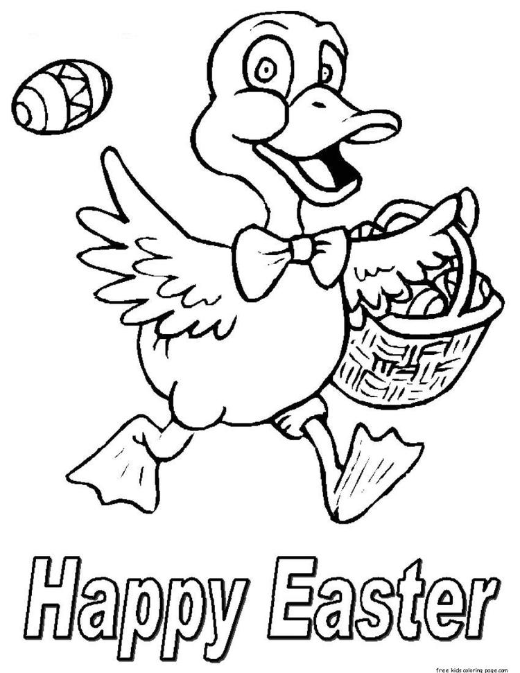 Printable Happy Easter Little Chicken With A Basket Full Of Easter Eggs Coloring Pages