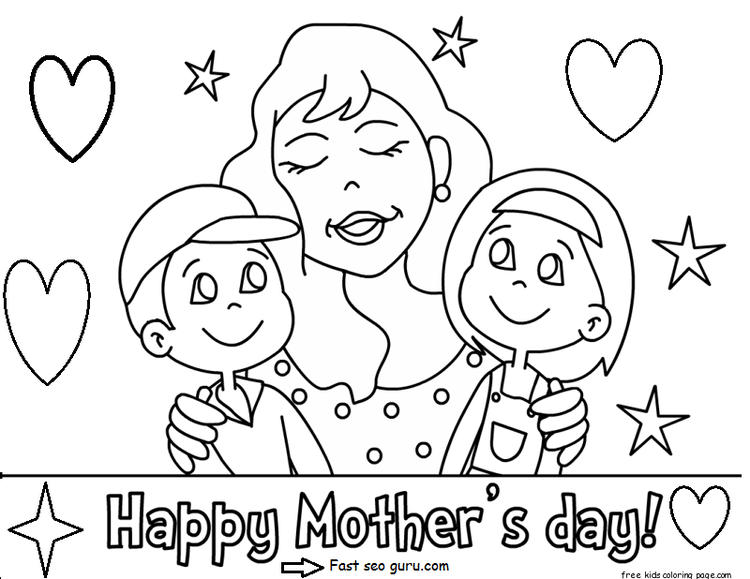 Printable Happy Mothers Day With Her Children Coloring Pages 1