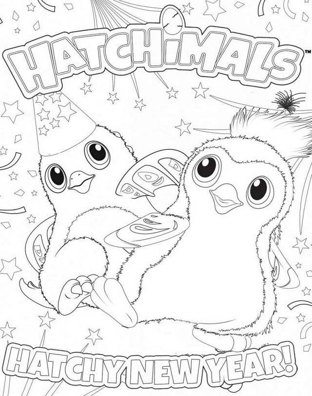Printable Happy New Year Hatchimals Coloring Pages