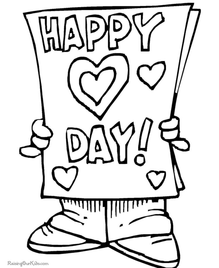 Printable Happy Valentine Coloring Pages