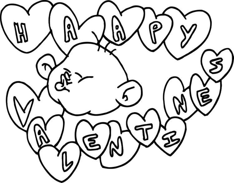 Printable Happy Valentines Day Coloring Pages