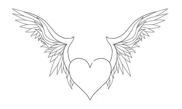 Printable Heart With Wings Coloring Pages