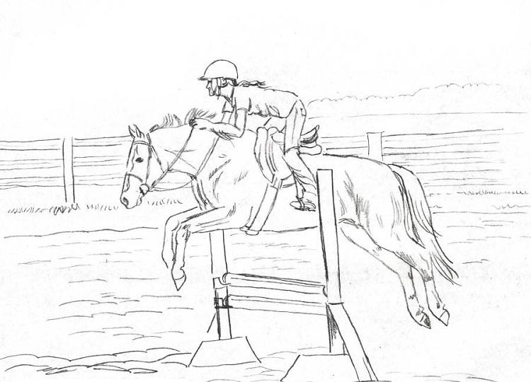Printable Horse Jumping Coloring Pages