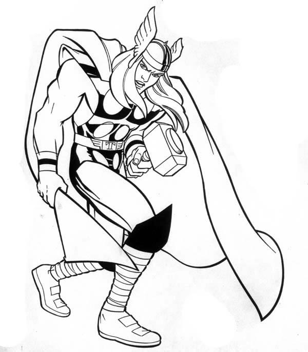 Printable Marvel Coloring Pages Thor 1