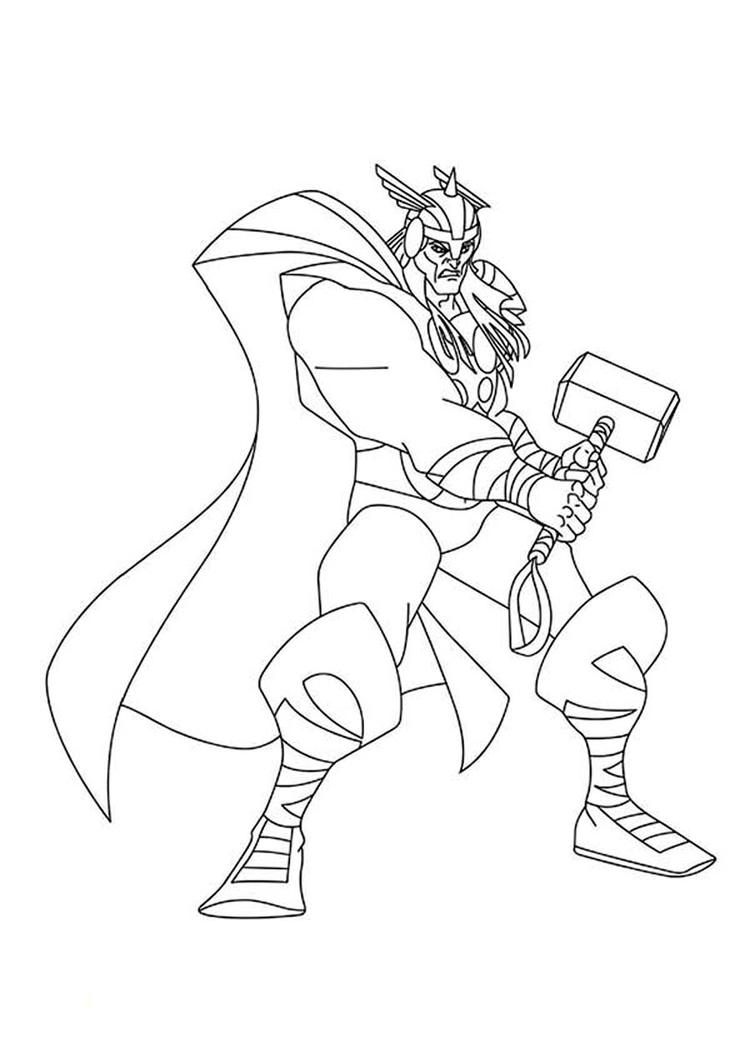 Printable Marvel Coloring Pages Thor 2