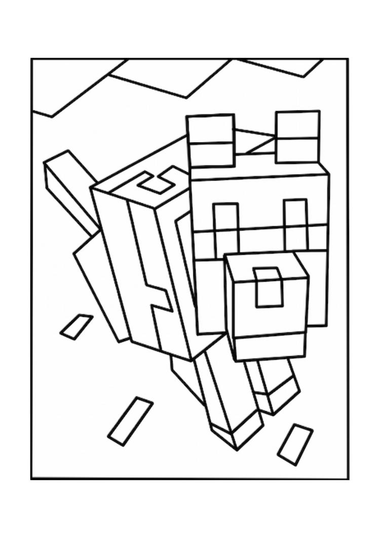 Printable Minecraft Coloring Pages Wolves