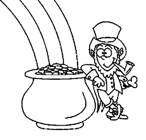 Printable Rainbow And Pot Of Gold Coloring Pages