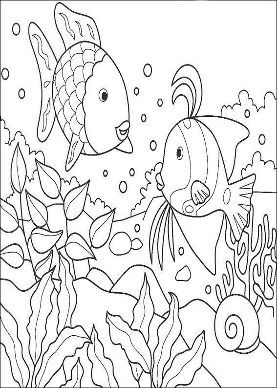 Printable Rainbow Fish Coloring Pages For Kids