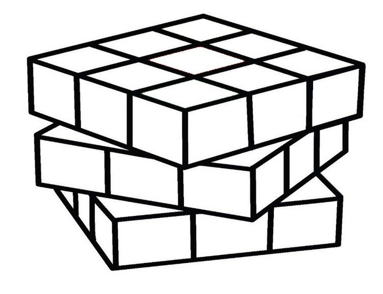 Printable Rubiks Cube Game Coloring Page