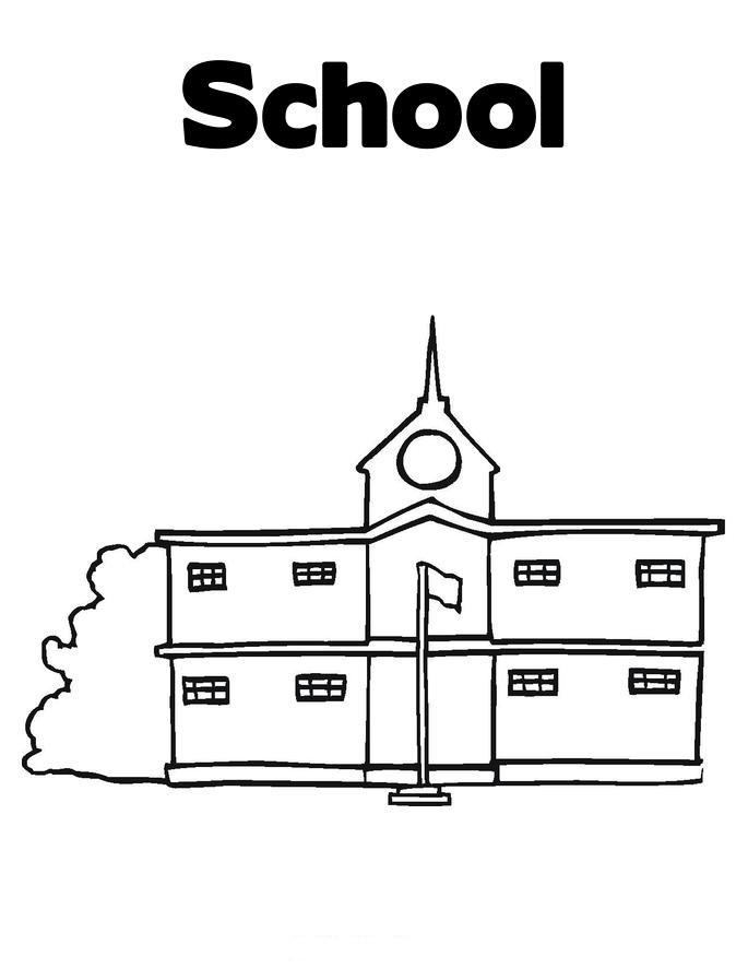 Printable School House Coloring Pages