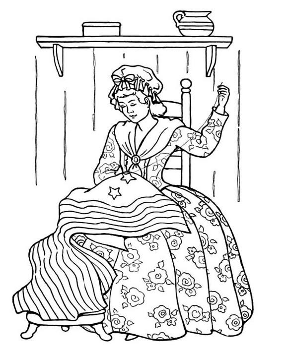 Printable Sewing Us Flag Coloring Pages