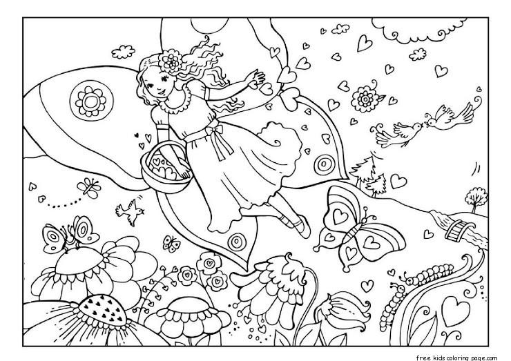Printable Valentine Day Fairy Colouring Page 1