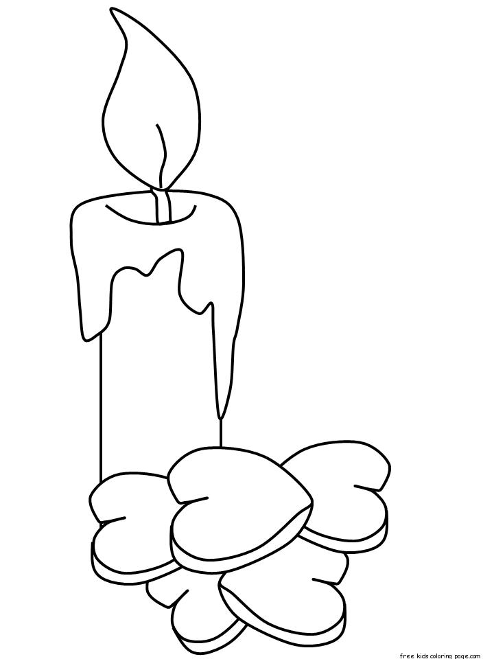 Printable Valentines Day Candle Coloring Sheet